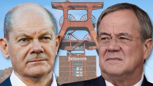 Die Kanzlerkandidaten Olaf Scholz und Armin Laschet und das Symbol des Reviers.