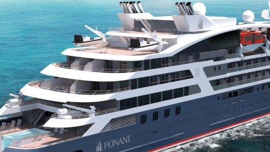 Suiten für 184 Passagiere und ausgerüstet für polare Gefilde:Vier neue Expeditionsjachten lässt die Reederei Ponant bauen - bis zum Jahr 2019 sollen alle fertig sein. Rendering:Ponant - Sterling Design International