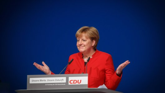 Angela Merkel gastierte nicht nur in der Grugahalle sondern auch im Stadion von Rot-Weiss Essen.