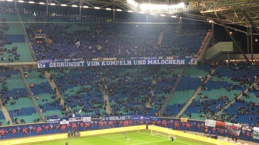 Schalkes Protest beim Gastspiel in Leipzig.