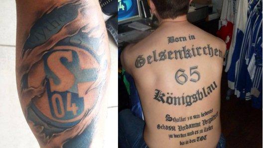 Die Schalke-Tattoos der der königsblauen Fans sind grandios (Fotomontage).