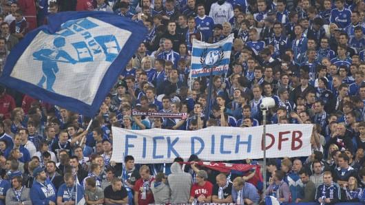 Schalke-Fans protestieren gegen den DFB.