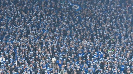 Die Nordkurve trug beim Derby einheitlich blau-weiße Mützen.