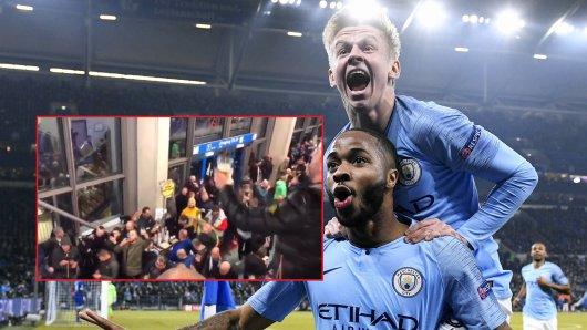 Nach dem Siegtreffer von Raheem Sterling auf Schalke feierten die City-Fans