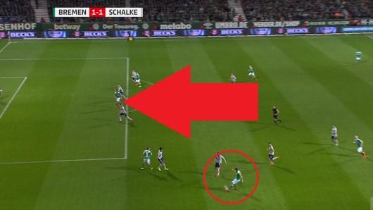 Im Spiel zwischen Bremen und Schalke kam es zu einer umstrittenen Szene.