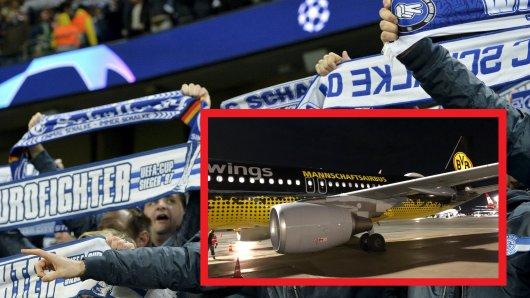 Da staunten einige Fans des FC Schalke 04 nicht schlecht, als sie in eine Maschine des BVB steigen mussten.