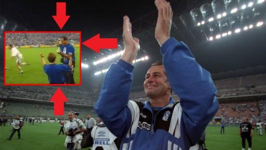 Legendär: Der FC Schalke 04 holt den Uefa Cup 1997 und Huub Stevens muss noch etwas Wichtiges erledigen.