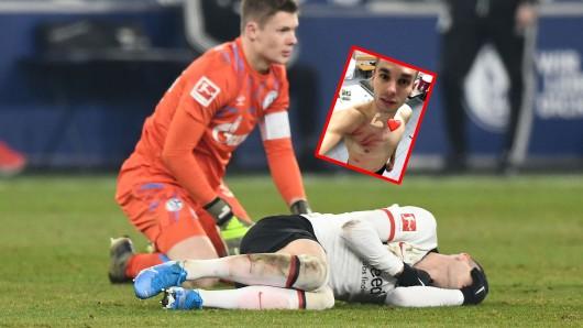 Alexander Nübel, Torwart des FC Schalke 04, schockierte mit einem brutalen Foul an Mijat Gacinovic.