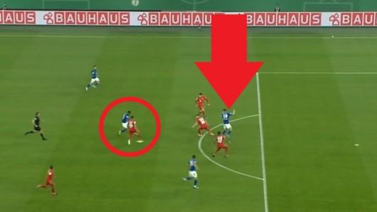 Im DFB-Pokal kam es in der Partie zwischen Schalke und Bayern zu dieser strittigen Szene.