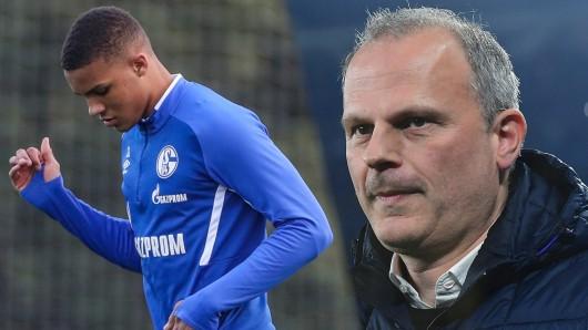Der FC Schalke 04 und sein Sportvorstand Jochen Schneider (r.) müssen um den Verbleib von Juwel Malick Thiaw bangen.