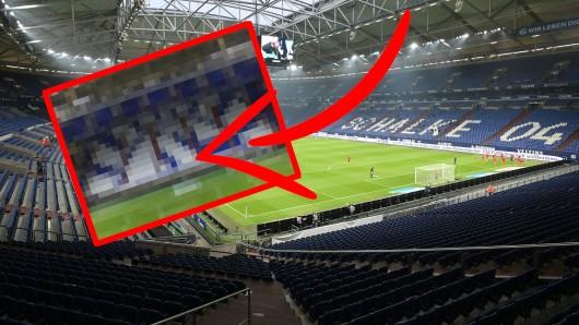 Vor Schalke - Dortmund hat ein S04-Fanclub eine Derby-Choreo auf die leeren Ränge gezaubert.