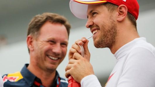 In der Formel 1 lässt Red-Bull-Teamchef Christian Horner (l.) mit einer Aussage über Sebastian Vettel aufhorchen.