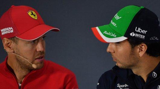 Formel 1: Sebastian Vettel mit seinem Vorgänger Sergio Perez.