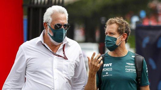 Formel 1: Sebastian Vettel im Gespräch mit Lawrence Stroll.