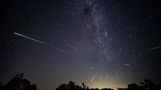 Um den 13. August 2020 kannst du besonders viele Perseiden sehen. Besonders schön werden Sternschnuppen-Fotos, wenn du sie in der Natur aufnimmst - wie hier im Joshua Tree Nationalpark in Kalifornien (USA). (Symbolbild)