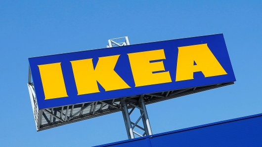 FILE PHOTO: The logo of IKEA is seen above a store in Voesendorf, Austria, April 24, 2017. REUTERS/Heinz-Peter Bader/File Photo