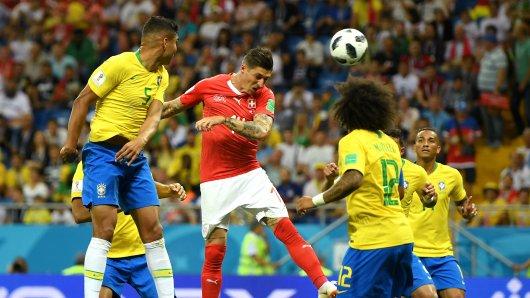 Tor für die Schweiz: Steven Zuber erzielt das 1:1 gegen Brasilien.