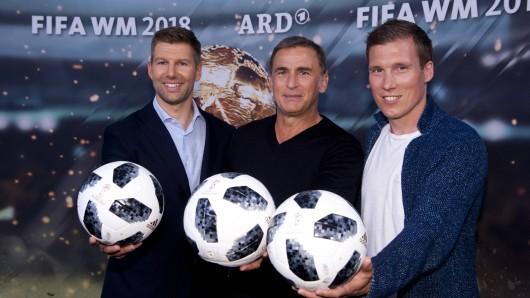 """Das Experten-Team in der ARD: Thomas Hitzelsperger, Stefan Kuntz und Hannes Wolf, der den Fachbegriff des """"kleinen Netzes"""" prägte."""