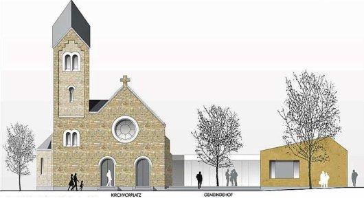 Dieses Bild zeigt die Westansicht des zukünftigen Gemeindezentrums in Oespel.