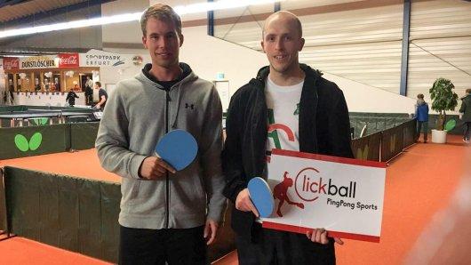 Thomas Eickhof (re.) mit Michel Hinricher vom TV Borken. Dieser erreichte bei der DM das Viertelfinale und verlor nur knapp gegen den späteren DM-Dritten Dwain Schwarzer.