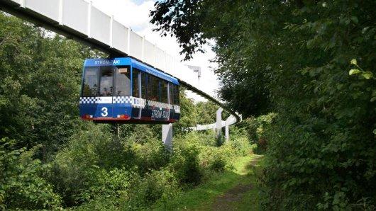 Der Probebetrieb der H-Bahn, hier zwischen Campus Nord und Süd, endet am Samstag zumindest vorerst.